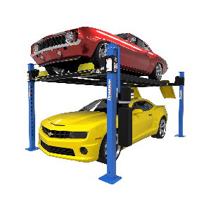 D4-9 four-post lift package includes caster kit, drip trays, and aluminum ramps