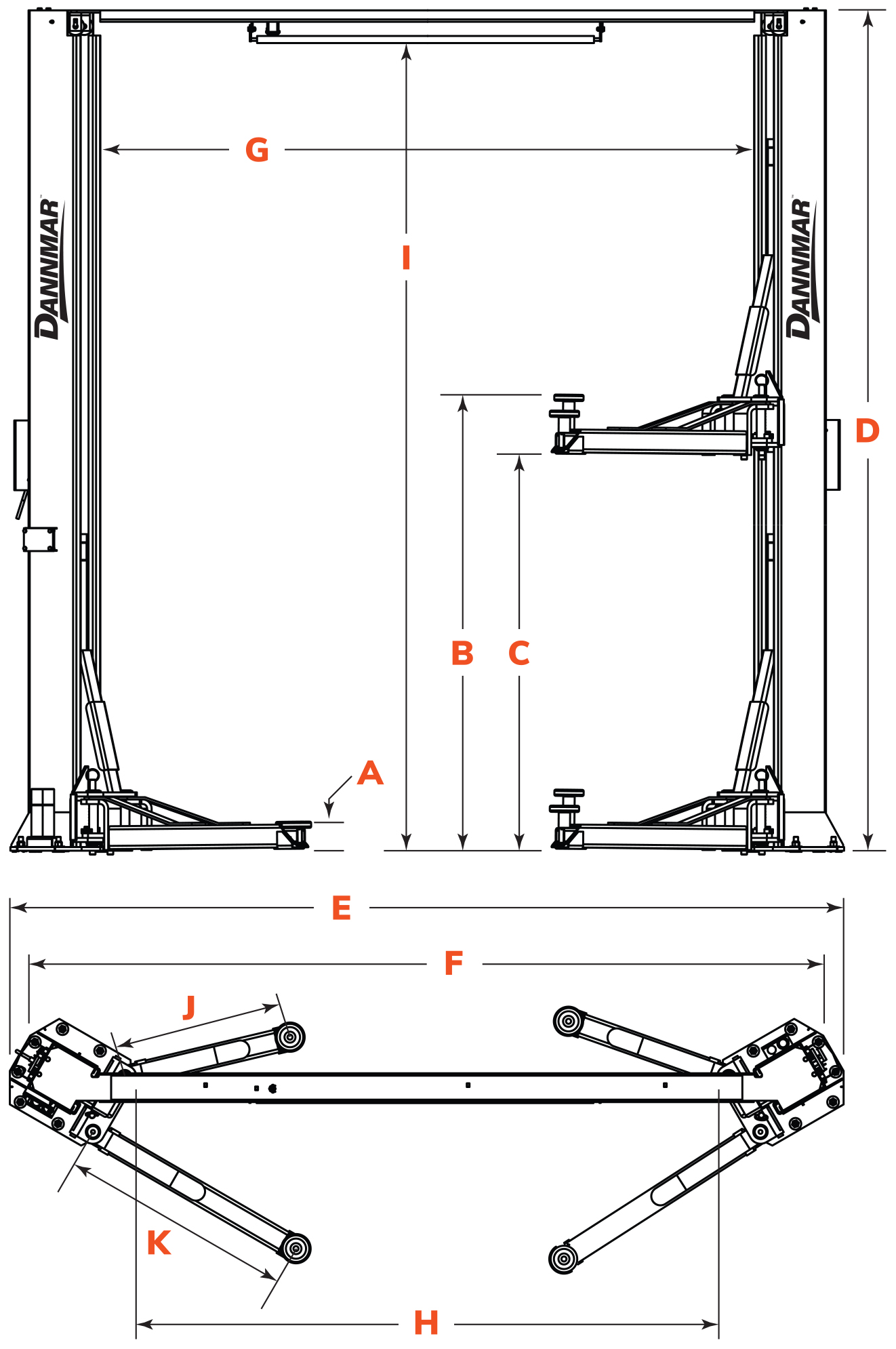 Dannmar D2-10A two-post lift floor diagram