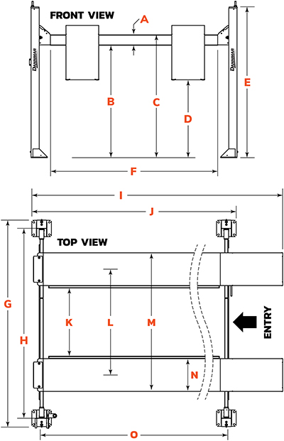 Dannmar D4-12 four-post lift floor diagram
