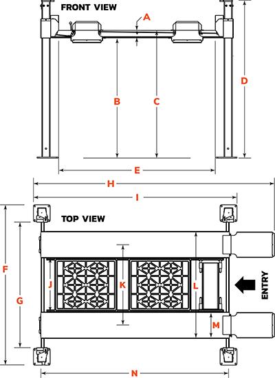 Dannmar D4-9 four-post lift floor diagram